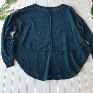 Free people lace top turquoise blue